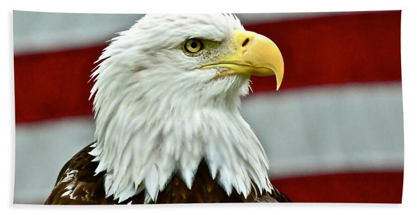 Bald Eagle And Old Glory Hand Towel