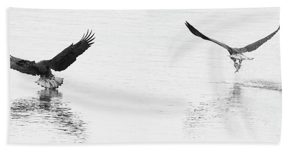 Bald Eagles Fishing Hand Towel