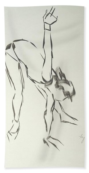 Ballet Dancer Bending And Stretching Bath Towel