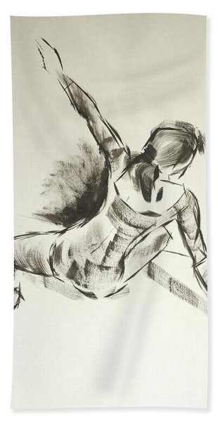 Ballet Dancer Sitting On Floor With Weight On Her Right Arm Hand Towel