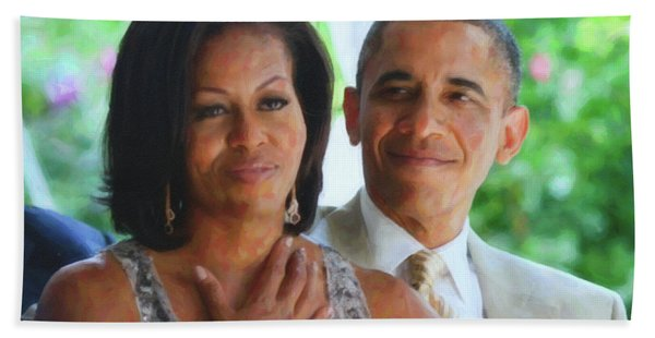 Barack And Michelle Obama Hand Towel