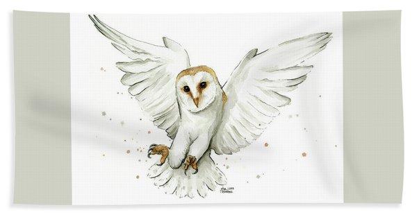Barn Owl Flying Watercolor Hand Towel