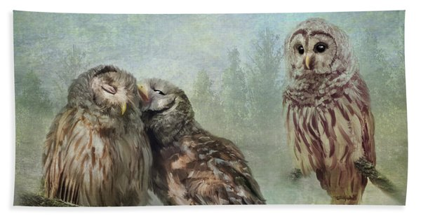 Bath Towel featuring the photograph Barred Owls - Steal A Kiss by Patti Deters