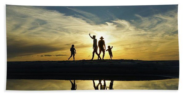 Beach Dancing At Sunset Hand Towel
