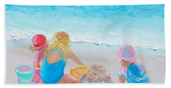 Beach Painting - Building Sandcastles Hand Towel