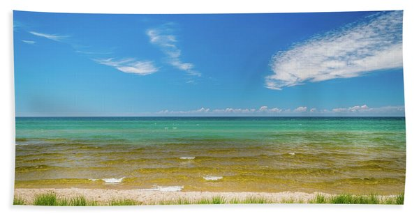 Beach With Blue Skies And Cloud Hand Towel