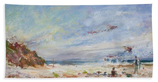 Beachy Day - Impressionist Painting - Original Contemporary Hand Towel