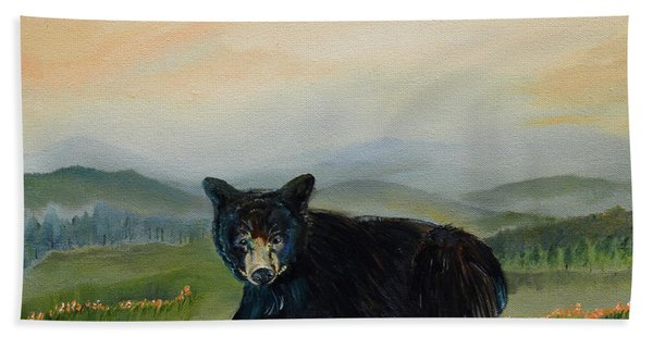 Bear Alone On Blue Ridge Mountain Hand Towel