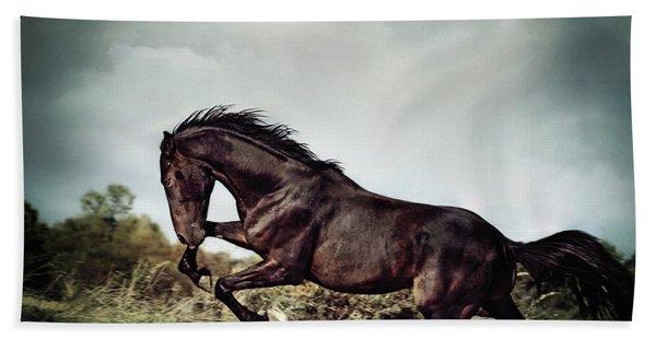 Beautiful Black Stallion Horse Running On The Stormy Sky Bath Towel