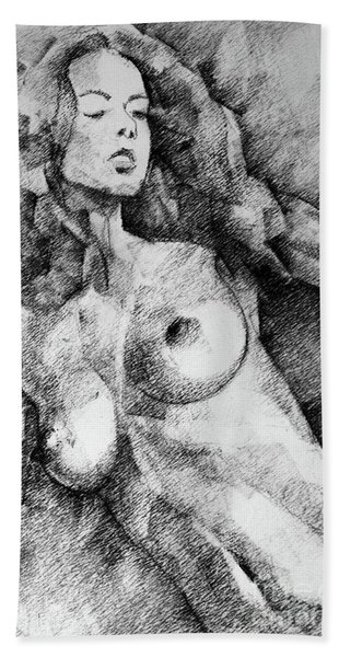 Beautiful Girl Close Up Standing Pose Art Drawing Hand Towel