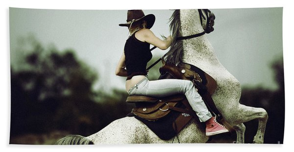 Beautiful Girl Ridingwhite Horse Hand Towel