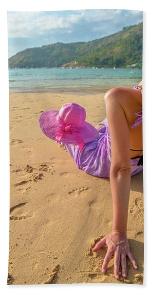 Beautiful Woman Sunbathing On Beach Bath Towel