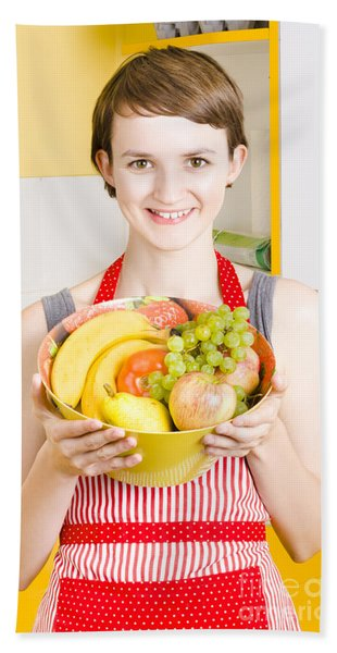 Beautiful Woman With Smile And Fresh Fruit Bowl Hand Towel