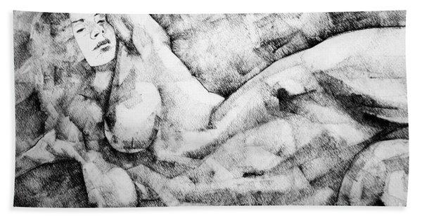 Beautiful Young Girl Pencil Art Drawing Bath Towel