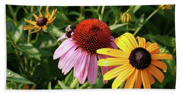 Bee On The Cone Flower Bath Towel