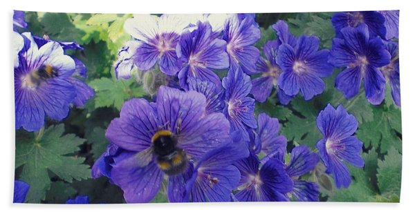 Bees And Flowers Hand Towel