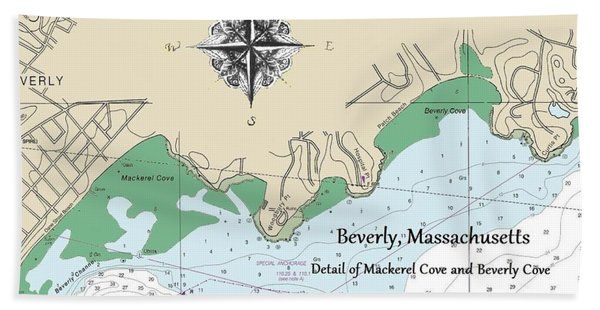 Beverly Cove Nautical Map Bath Towel
