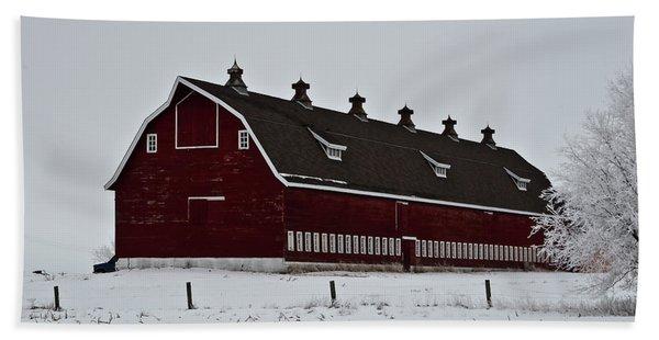 Big Red Barn In The Winter Bath Towel