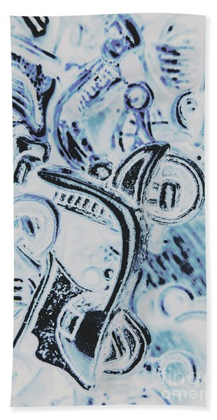 Bikes And Blue Cities Hand Towel