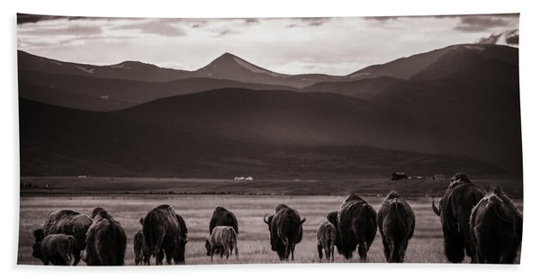 Bison Herd Into The Sunset - Bw Bath Towel