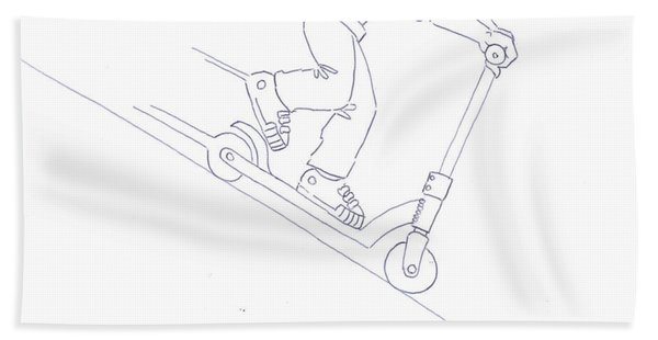 Black And White Micro Scooter Downhill Drawing Bath Towel