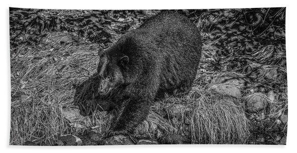Black Bear Salmon Seeker Bath Towel
