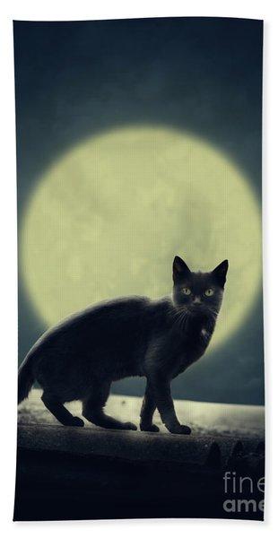 Black Cat And Full Moon Hand Towel