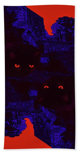 Black Cat Under A Blood Red Moon Bath Towel