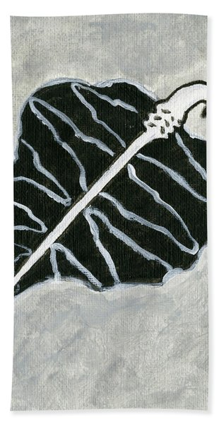 Black Retro Leaf Bath Towel