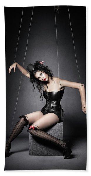 Black Widow Marionette Puppet  Bath Towel