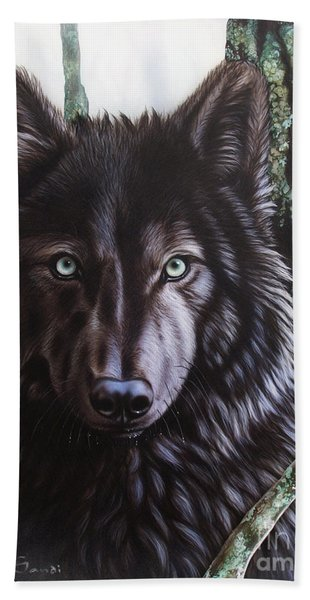 Black Wolf Hand Towel