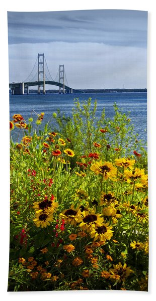 Blooming Flowers By The Bridge At The Straits Of Mackinac Hand Towel