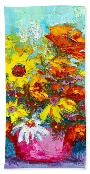 Colorful Wildflowers, Abstract Floral Art  Bath Towel