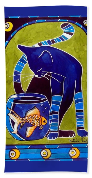 Blue Cat With Goldfish Bath Towel