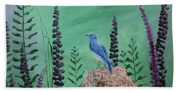 Blue Chickadee Standing On A Rock 2 Bath Towel