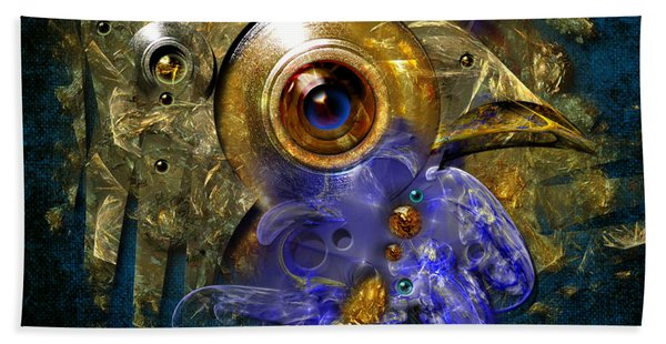 Blue Eyed Bird Hand Towel