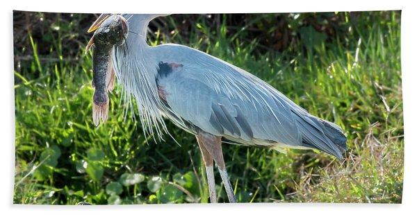 Blue Heron With Fish Bath Towel