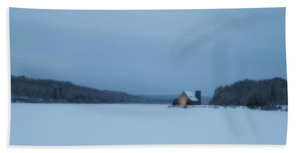 Blue Hour At The Old Stone Church Hand Towel