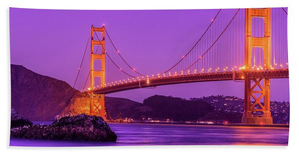 Golden Gate Bridge In The Blue Hour Bath Towel