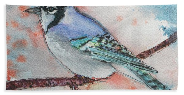 Hand Towel featuring the painting Blue Jay by Ruth Kamenev
