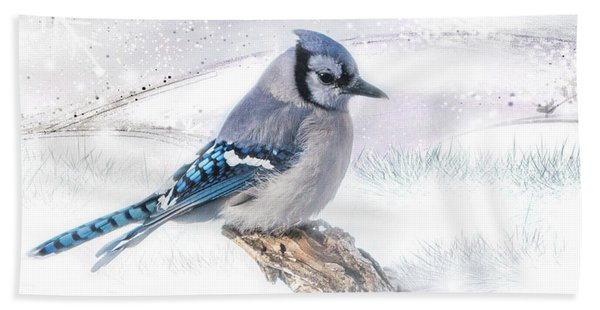 Bath Towel featuring the photograph Blue Jay Snow by Patti Deters
