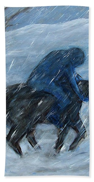 Blue Rider On Horse Bath Towel