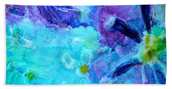 Blue Water Flower Hand Towel
