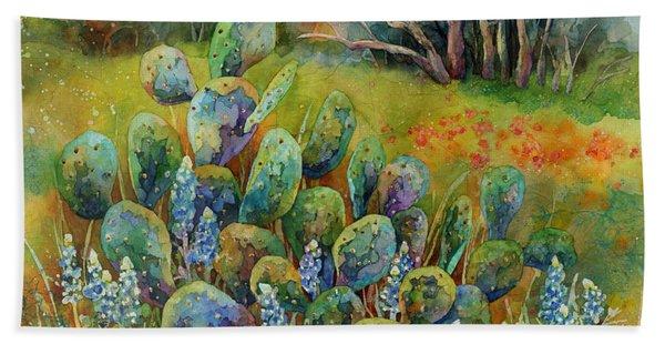 Bluebonnets And Cactus Bath Towel