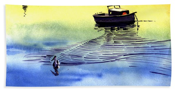 Boat And The Seagull Hand Towel