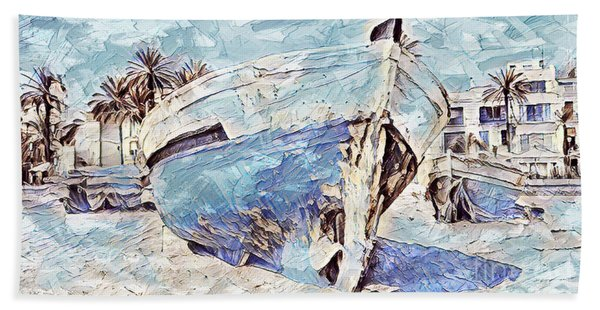 Boat On Sand Of A Beach Shore Hand Towel