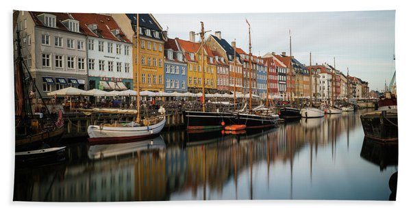 Hand Towel featuring the photograph Boats At Nyhavn In Copenhagen by James Udall