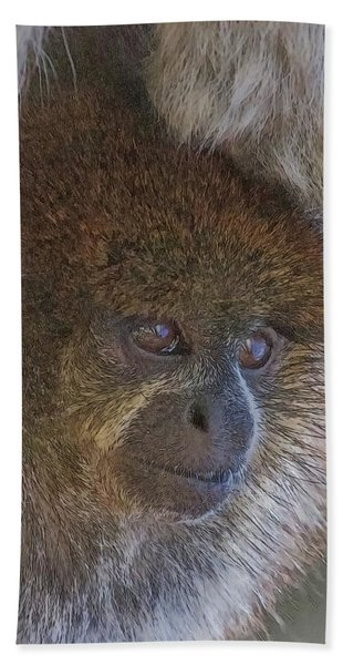 Bath Towel featuring the digital art Bolivian Grey Titi Monkey by Larry Linton