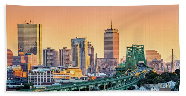 Hand Towel featuring the photograph Boston Skyline by Mihai Andritoiu