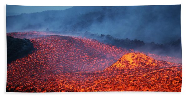 Boulder Rolling In Lava Flow At Dusk Hand Towel